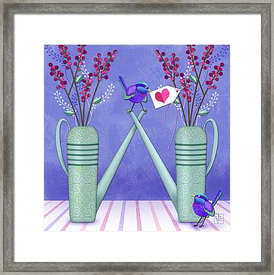 W Is For Watering Cans And Wonderful Wrens Framed Print by Valerie Drake Lesiak