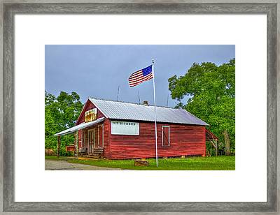 W T Bickets Store In Liberty Framed Print by Reid Callaway