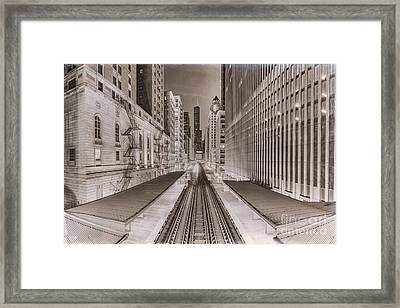Wabash And Adams -l- Cta Station And Trump International Tower Hotel At Dawn- Chicago Ilinois Framed Print by Silvio Ligutti