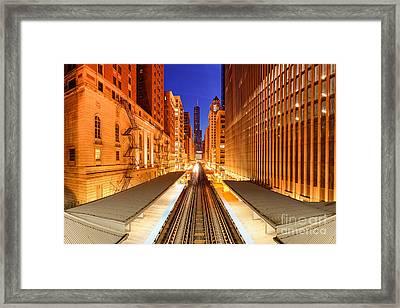 Wabash And Adams -l- Cta Station And Trump International Tower Hotel At Dawn- Chicago Illinois Framed Print by Silvio Ligutti