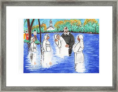 Wade In The Water Framed Print by Malcolm Aaron