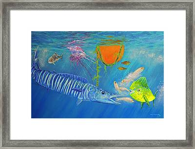 Wahoo Dolphin Painting Framed Print by Ken Figurski
