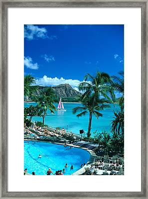 Waikiki And Sailboat Framed Print by Tomas del Amo - Printscapes