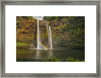 Wailua Falls Rainbow Framed Print by Brian Harig