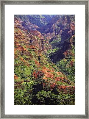 Waimea Canyon Aerial Framed Print by Carl Shaneff - Printscapes