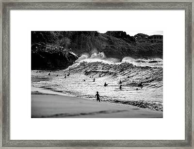 Waimea Sweep Framed Print by Sean Davey