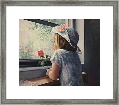 Waiting For Daddy Framed Print by Laurie Hein