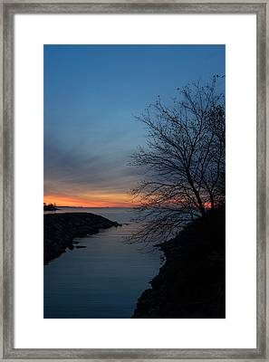 Waiting For Dawn - Lakeside Blues And Oranges Framed Print by Georgia Mizuleva
