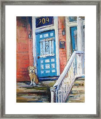 Waiting For His Master Framed Print by Karen Mayer Johnston