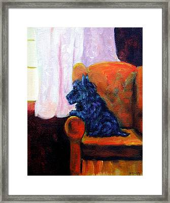 Waiting For Mom - Scottish Terrier Framed Print by Lyn Cook