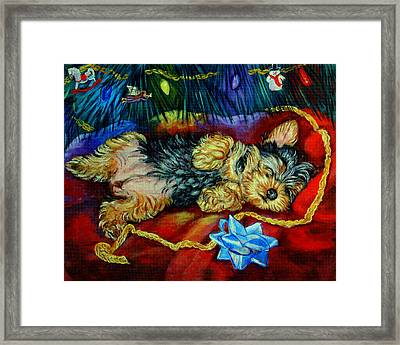 Waiting For Santa Yorkshire Terrier Framed Print by Lyn Cook
