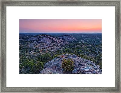 Waiting For Sunrise At Turkey Peak - Enchanted Rock Fredericksburg Texas Hill Country Framed Print by Silvio Ligutti