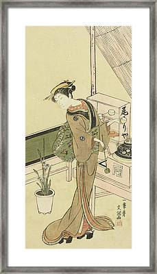 Waitress At The Owariya Teahouse Framed Print by Ippitsusai Buncho