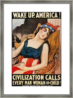 Wake Up America Poster Framed Print by Granger
