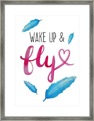 Wake Up And Fly Watercolor Framed Print by Michelle Eshleman