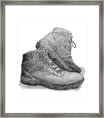 Walk A Mile In My Shoes-john Casanover Ms Project Framed Print by Michael Volpicelli