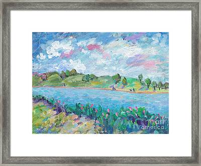 Walk Around The Lake Framed Print by Peggy Johnson