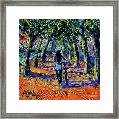 Walk Beneath The Plane Trees Framed Print by Mona Edulesco