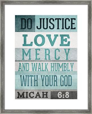Walk Humbly- Micah  Framed Print by Linda Woods