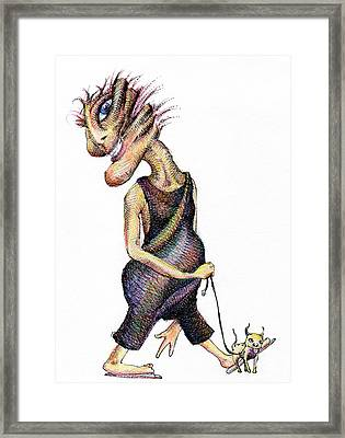 Walk The Dog Framed Print by Mark Johnson
