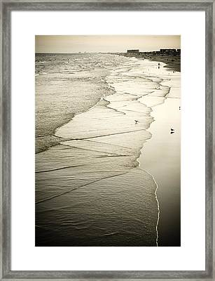 Walking Along The Beach At Sunrise Framed Print by Marilyn Hunt