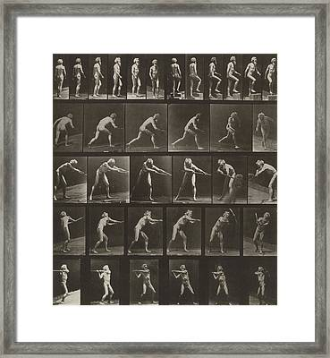 Walking, Ascending, Throwing Framed Print by Eadweard Muybridge