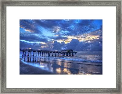 Walking In The Reflections Tybee Island Pier Sunrise Art Framed Print by Reid Callaway
