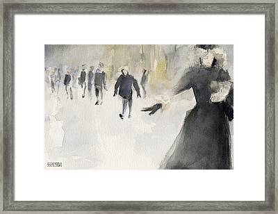 Walking In The Snow Framed Print by Beverly Brown Prints