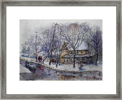 Viola And I Walking In The Winter Framed Print by Ylli Haruni