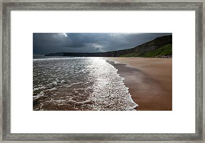 Walking On The Beach Framed Print by Contemporary Art