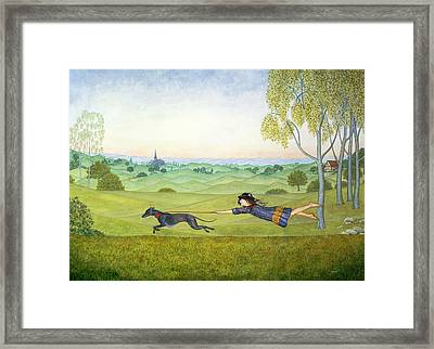 Walking The Dog  Framed Print by Ditz
