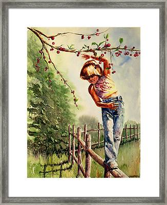Walking The Fence Framed Print by Shirley Sykes Bracken