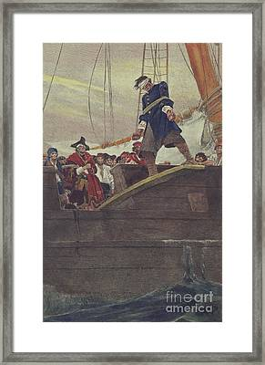 Walking The Plank Framed Print by Howard Pyle