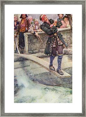 Walking The Plank Framed Print by Walter Stanley Paget