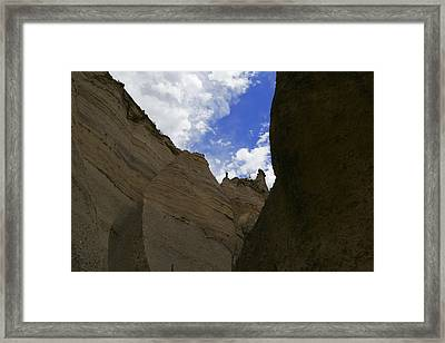 Walking Through The Slot Canyon In Tent Rock  Framed Print by Jeff Swan