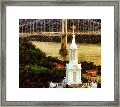 Walkway Over The Hudson - Our Lady Of Mount Carmel Church Steeple Framed Print by Janine Riley