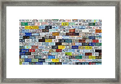 Wall Of American License Plates Framed Print by Christine Till