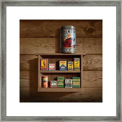 Wall Spice Rack - Americana Kitchen Art Decor - Vintage Spice Cans Tins - Square Format Framed Print by Walt Curlee