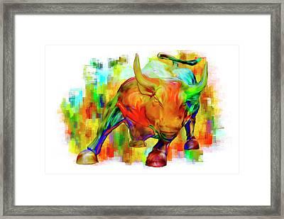 Wall Street Bull Framed Print by Jack Zulli