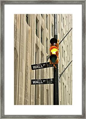 Wall Street Traffic Light Framed Print by Oonat