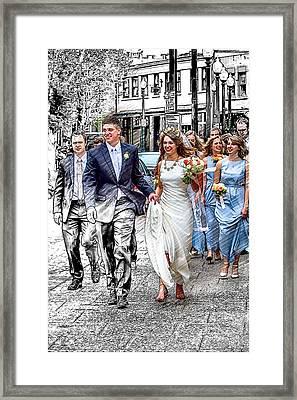 Wall Street Wedding Framed Print by John Haldane