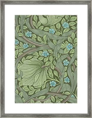Wallpaper Sample With Forget-me-nots Framed Print by William Morris