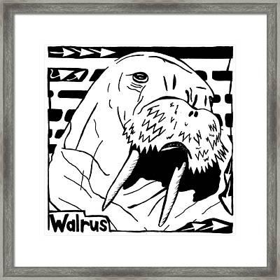 Walrus Maze Framed Print by Yonatan Frimer Maze Artist