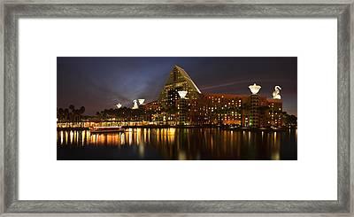 Walt Disney Dolphin At Twilight Framed Print by Andrew Soundarajan
