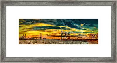 Walt Whitman Bridge Sunset Framed Print by Nick Zelinsky