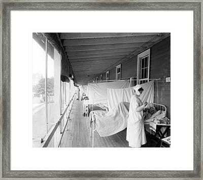 Walter Reed Hospital Flu Ward Framed Print by Underwood Archives
