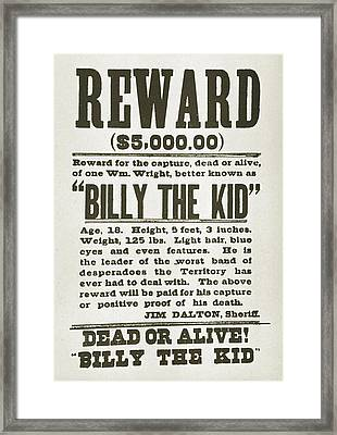 Wanted Poster For Billy The Kid Framed Print by Everett