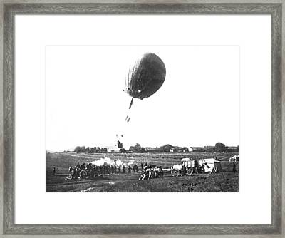 War Balloon To Bomb Germans Framed Print by Underwood Archives