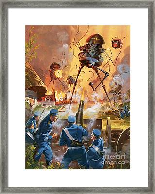 War Of The Worlds Framed Print by Barrie Linklater