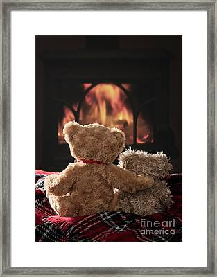 Warm And Cosy Teddies By The Fireside Framed Print by Amanda Elwell